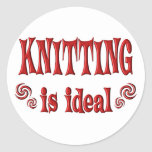 Knitting is Ideal Classic Round Sticker