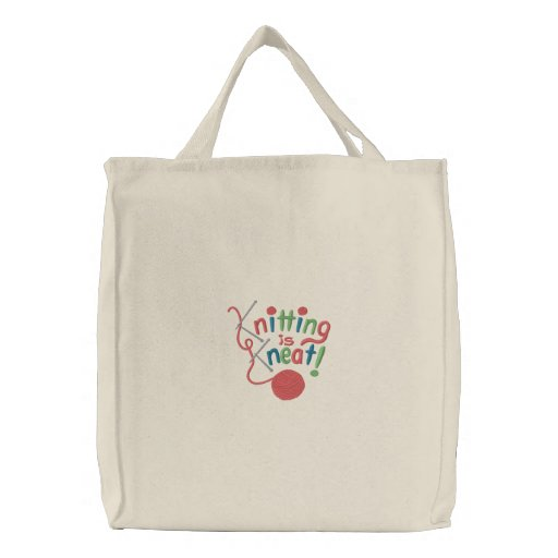 Knitting is Kneat Embroidered Tote Bag