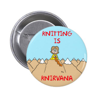 knitting is knirvana guru 2 inch round button