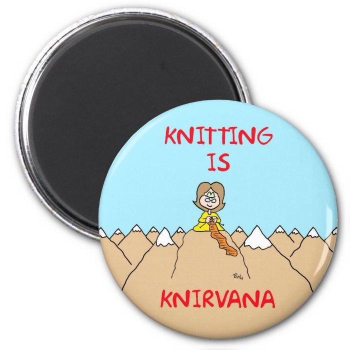 knitting is knirvana guru 2 inch round magnet