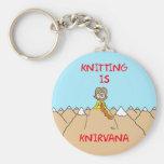 knitting is knirvana guru basic round button keychain