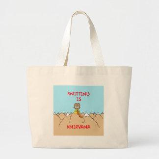 knitting is knirvana guru canvas bag