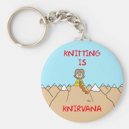 knitting is knirvana guru key chain