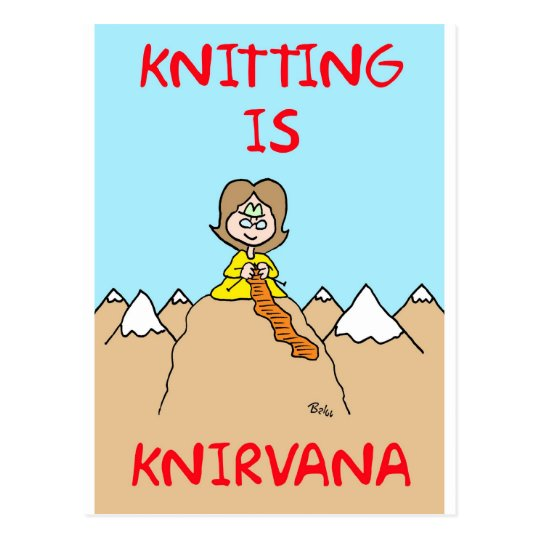 knitting is knirvana guru postcard