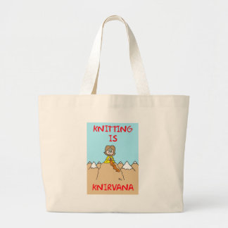 knitting is knirvana guru tote bags