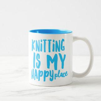 Knitting is my Happy Place 11 oz Two-Tone Mug