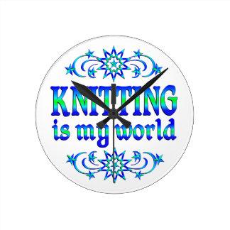 Knitting is my World Round Clock