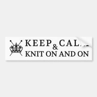 Knitting Keep Calm Knit On / Crafts Bumper Sticker
