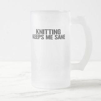 Knitting Keeps Me Sane Frosted Glass Beer Mug