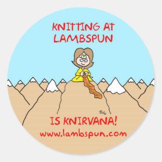 knitting knirvana lambspun round stickers
