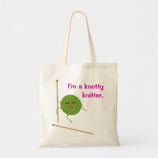 Knitting Knotty Funny Tote Bag