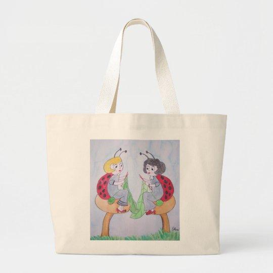 Knitting Ladybugs Large Tote Bag