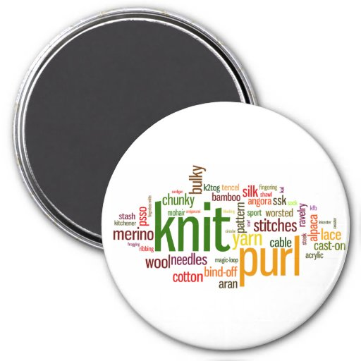 Knitting Lexicon - words for knitters!  Knit On! 3 Inch Round Magnet