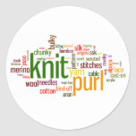 Knitting Lexicon - words for knitters!  Knit On! Classic Round Sticker
