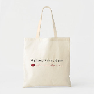 Knitting Lingo Red Yarn Ball Unravelling Tote Bag