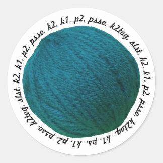 Knitting Lingo Yarn Ball Teal Crafts Classic Round Sticker