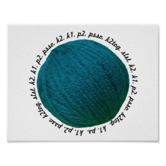 Knitting Lingo Yarn Ball Teal Crafts Poster