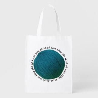 Knitting Lingo Yarn Ball Teal Crafts Reusable Grocery Bag