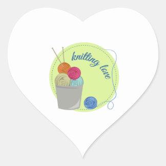 Knitting Love Heart Sticker