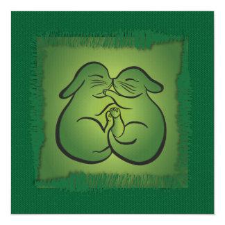 Knitting Lovers Greeting Card – Green Bunnies