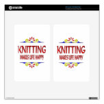 Knitting Makes Life Happy Kindle Fire Decals