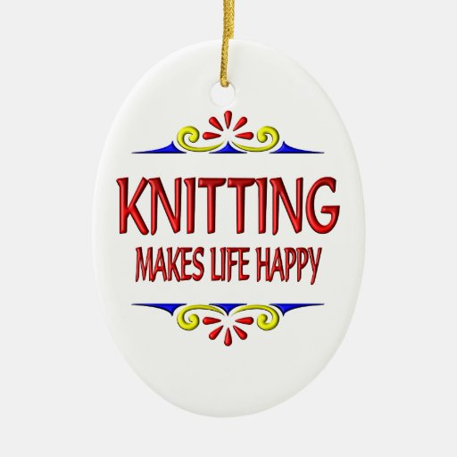 Knitting Makes Life Happy Double-Sided Oval Ceramic Christmas Ornament