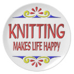 Knitting Makes Life Happy Plates