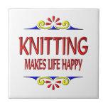 Knitting Makes Life Happy Tile