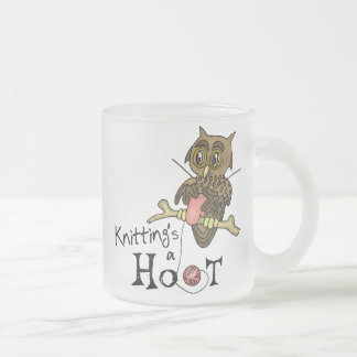 Knitting 10 Oz Frosted Glass Coffee Mug