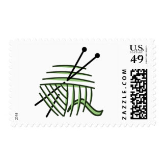 Knitting Needles and Green Yarn Postage Stamps