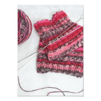 Knitting Needles and Yarn Ball Custom Invitation