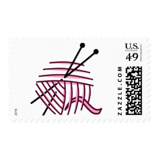 Knitting Needles and Yarn Postage Stamps