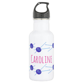 Knitting needles and yarn, with your name water bottle
