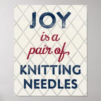 Knitting Needles Poster Vintage Knitter Art Print