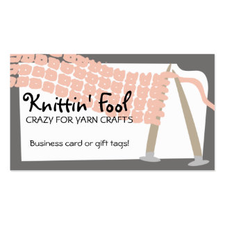 Knitting needles scarf pink grey business cards... Double-Sided standard business cards (Pack of 100)