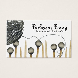 Knitting needles yarn ball crafting business ca... business card