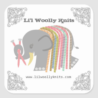 Knitting needles yarn elephant woolly mammoth square sticker