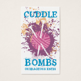 Knitting needles yarn grunge splatter purple business card