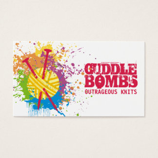 Knitting needles yarn grunge splatter rainbow business card