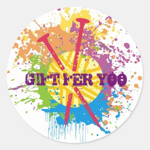 knitting needles yarn messy rainbow grunge round sticker