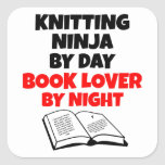 Knitting Ninja Book Lover Square Sticker