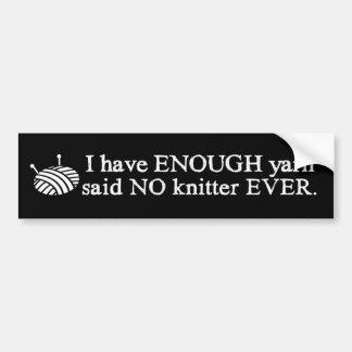 Knitting - Not Enough Yarn Crafts {Dark} Bumper Sticker