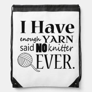 Knitting Not Enough Yarn Crafts Drawstring Backpack