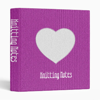 """Knitting Notes"" on Orchid Stockinette Stitch 3 Ring Binder"