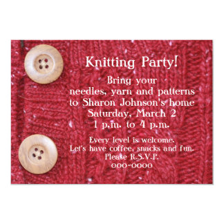 Knitting Party Red Cable Knit Card