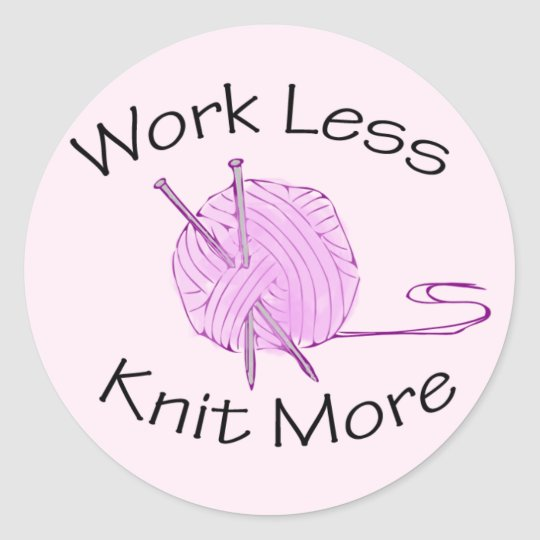 Knitting Passion Classic Round Sticker