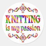 Knitting Passion Round Sticker