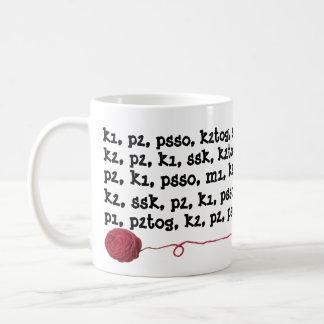 Knitting Pattern Instructions Yarn Ball Red Coffee Mug