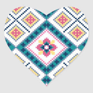 Knitting pattern with flowers heart sticker