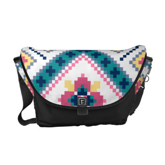 Knitting pattern with flowers messenger bag